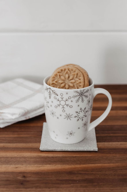 Holiday Gift Idea Festive Mug filled with Homemade Cookies